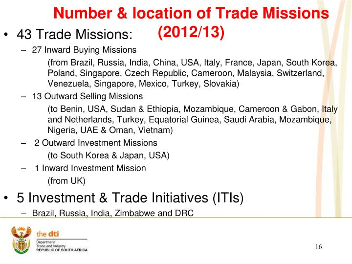 Number & location of Trade Missions (2012/13)