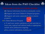 ideas from the pao checklist