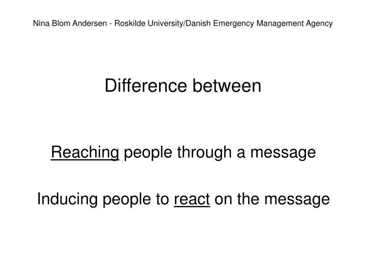 Nina Blom Andersen - Roskilde University/Danish Emergency Management Agency