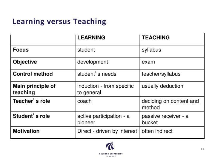 Learning versus Teaching