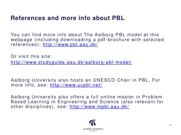 References and more info about PBL