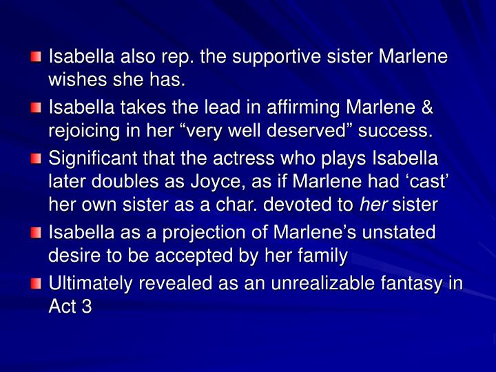 Isabella also rep. the supportive sister Marlene wishes she has.