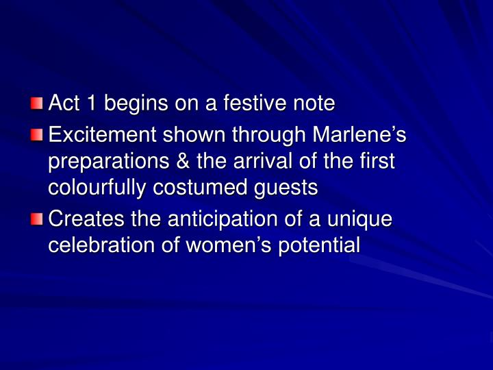 Act 1 begins on a festive note