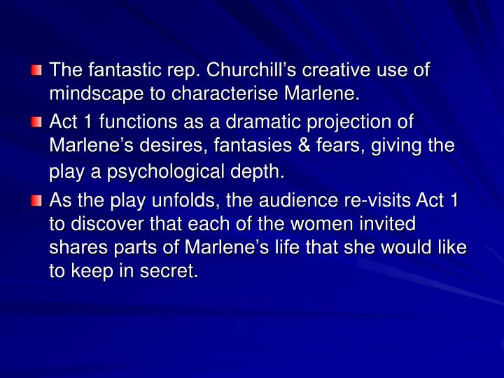 The fantastic rep. Churchill's creative use of mindscape to characterise Marlene.