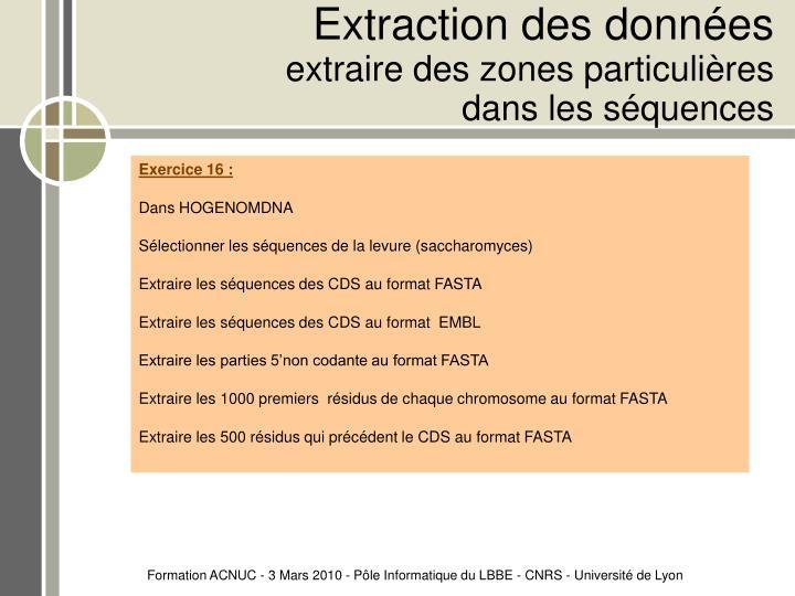 Extraction des données