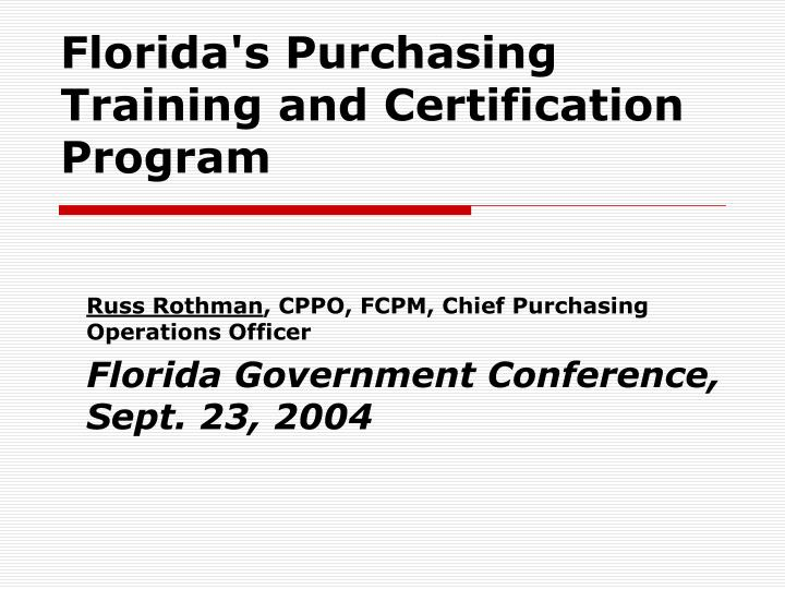 florida s purchasing training and certification program n.