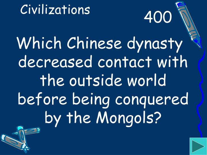 Which Chinese dynasty decreased contact with the outside world before being conquered by the Mongols?