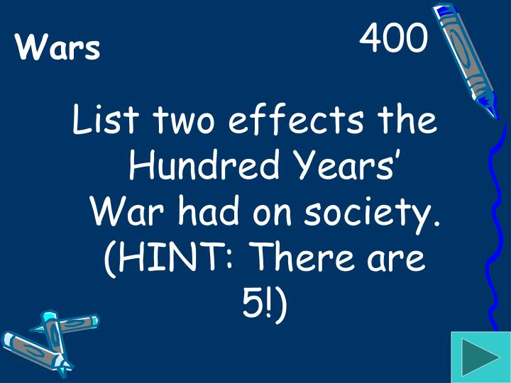 List two effects the Hundred Years' War had on society. (HINT: There are 5!)