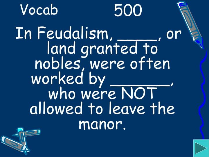 In Feudalism, ____, or land granted to nobles, were often worked by ______, who were NOT allowed to leave the manor.