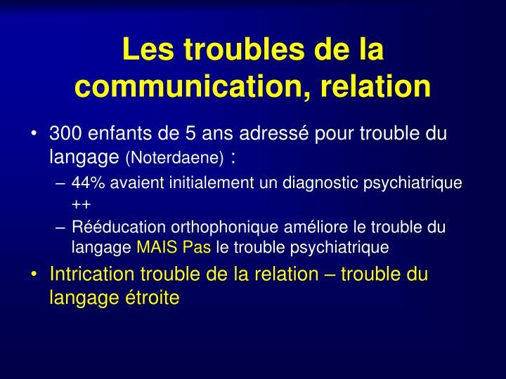 Les troubles de la communication, relation