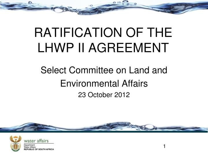 Select committee on land and environmental affairs 23 october 2012