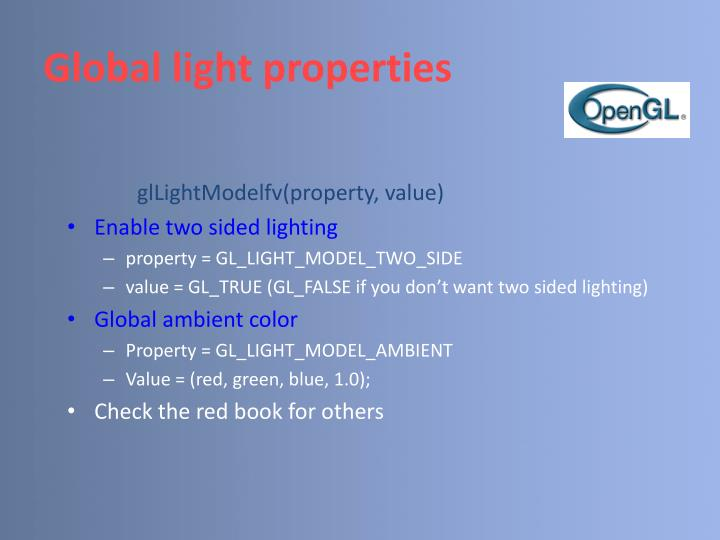 Global light properties