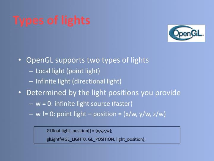 Types of lights