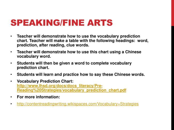 Speaking/fine arts