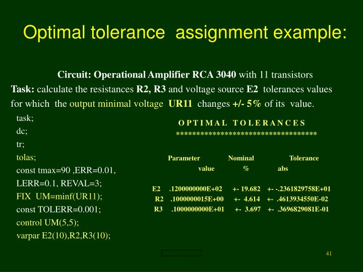 Optimal tolerance  assignment example: