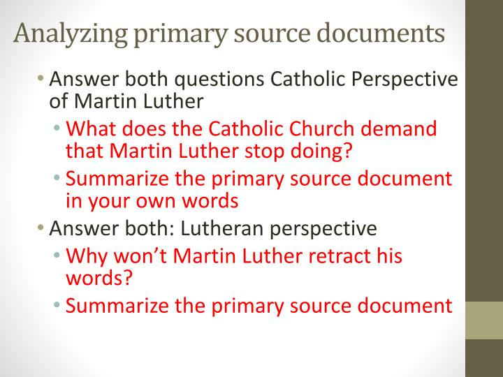 Analyzing primary source documents