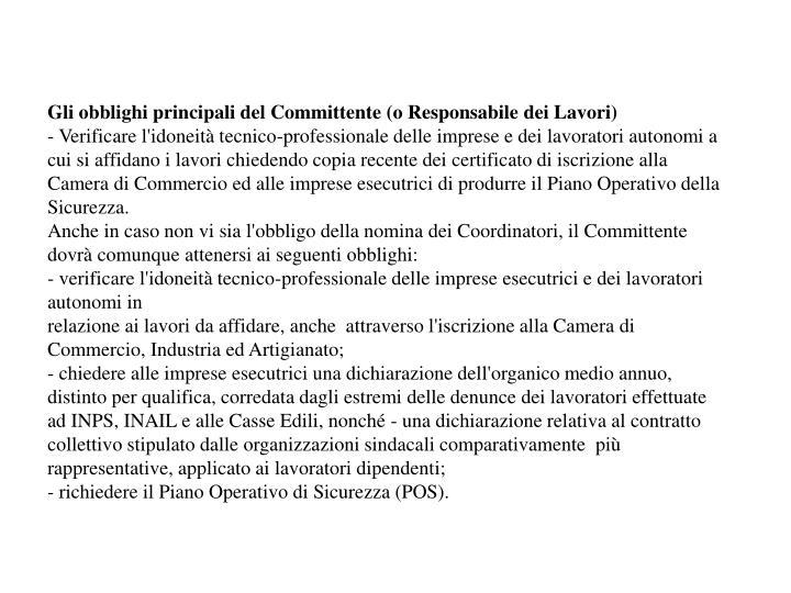 Gli obblighi principali del Committente (o Responsabile dei Lavori)