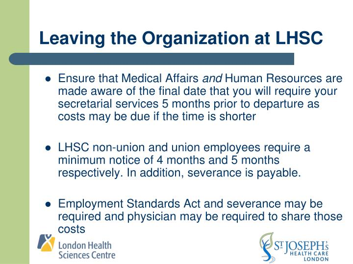 Leaving the Organization at LHSC