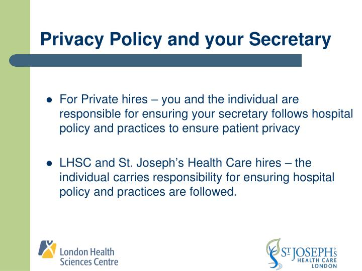 Privacy Policy and your Secretary