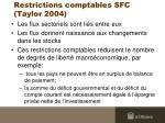restrictions comptables sfc taylor 2004