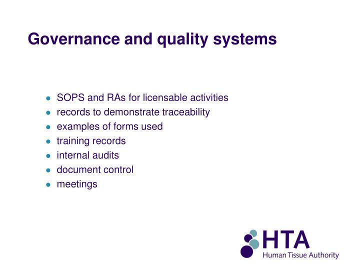 Governance and quality systems