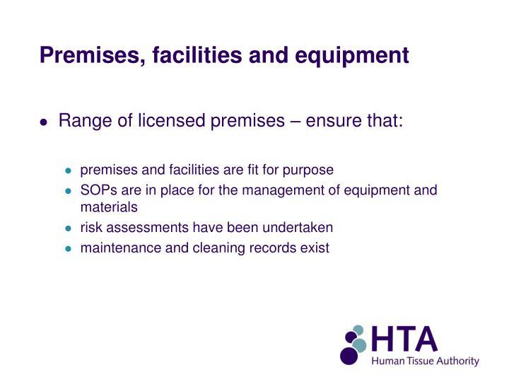 Premises, facilities and equipment