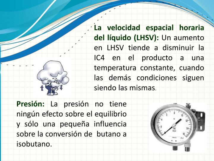 La velocidad espacial horaria del líquido (LHSV):
