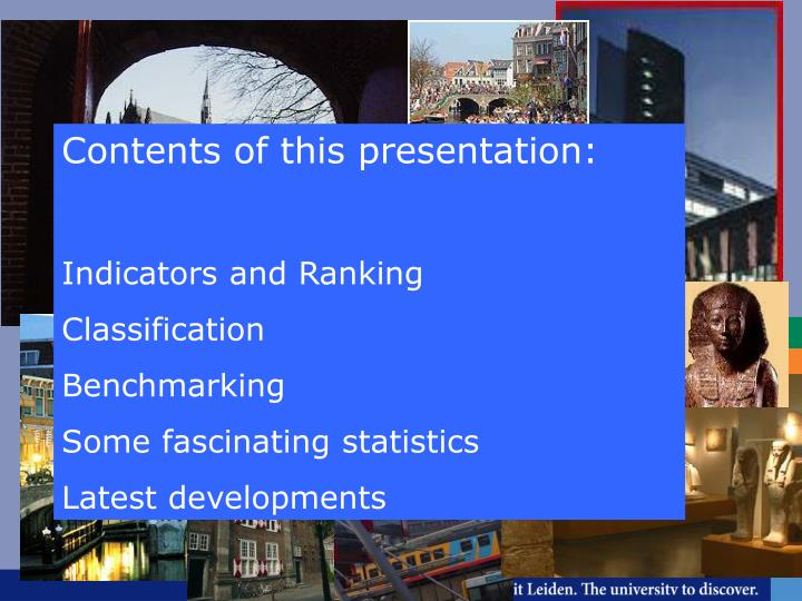 Contents of this presentation: