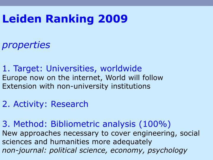 Leiden Ranking 2009