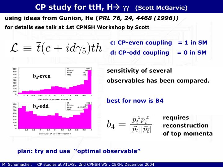 CP study for ttH, H