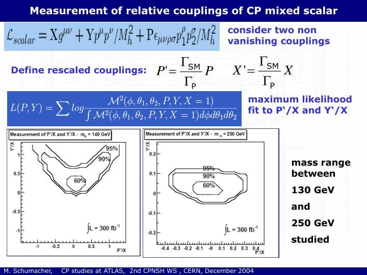 Measurement of relative couplings of CP mixed scalar