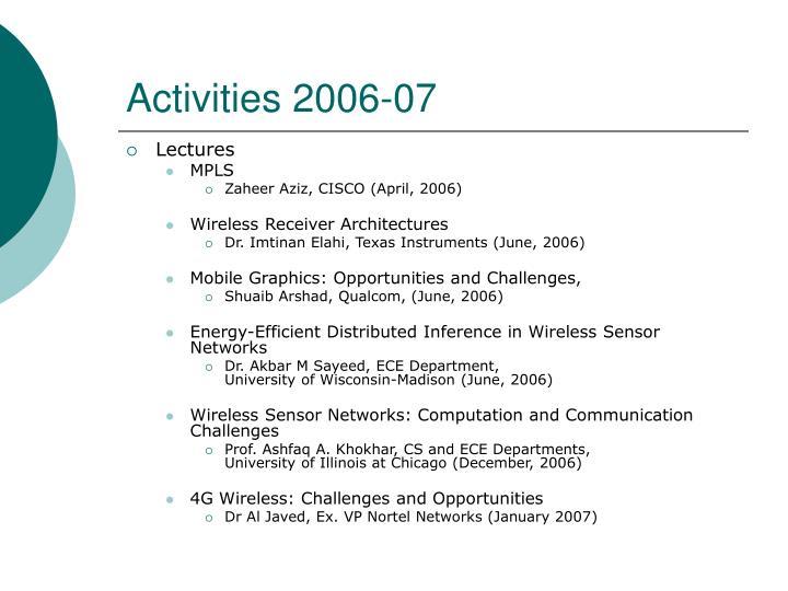 Activities 2006 07