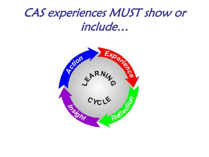 CAS experiences MUST show or include…