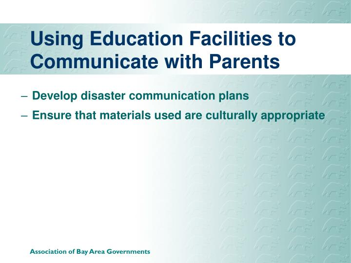 Using Education Facilities to Communicate with Parents