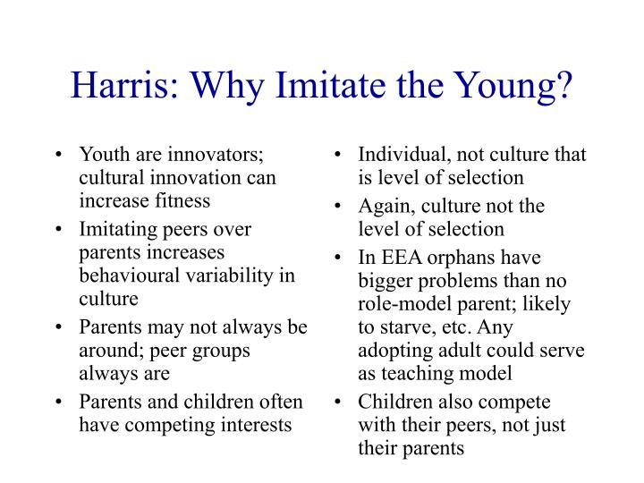 Youth are innovators; cultural innovation can increase fitness