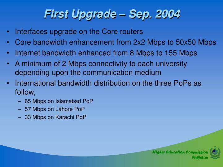 First Upgrade – Sep. 2004