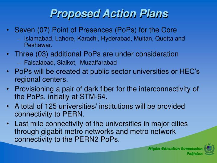 Proposed Action Plans