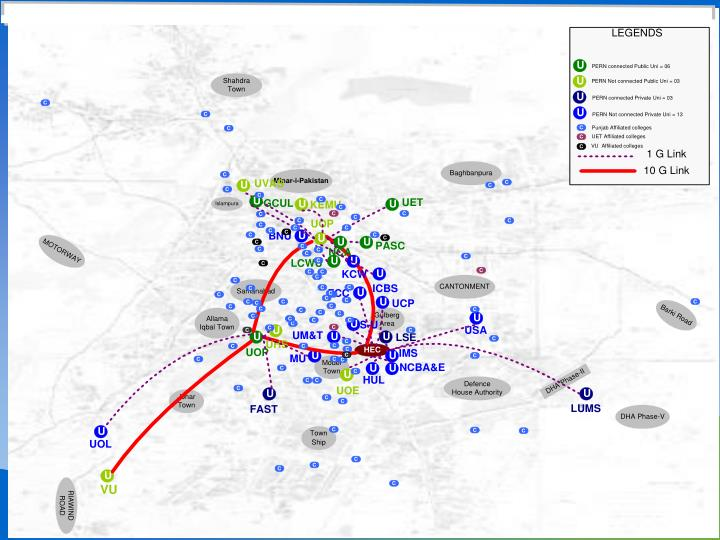 Colleges And Campuses  of Lahore Metro Area May be Connected To PERN2