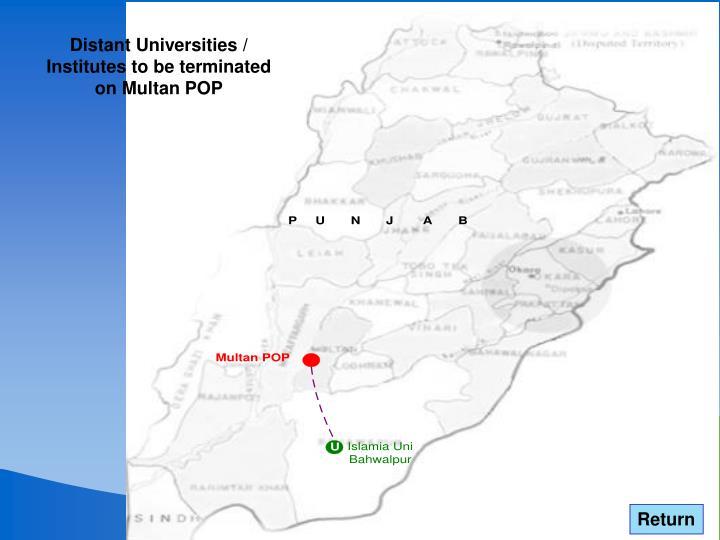 Distant Universities / Institutes to be terminated on Multan POP