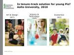 is tenure track solution for young pis aalto university 2010