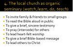 4 the local church as organic seminary watch learn do teach