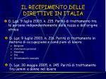 il recepimento delle direttive in italia