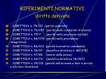 riferimenti normativi diritto derivato