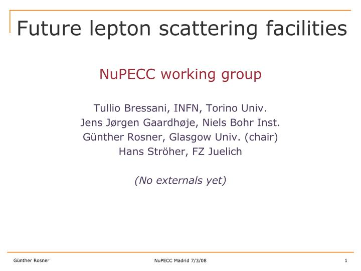future lepton scattering facilities n.