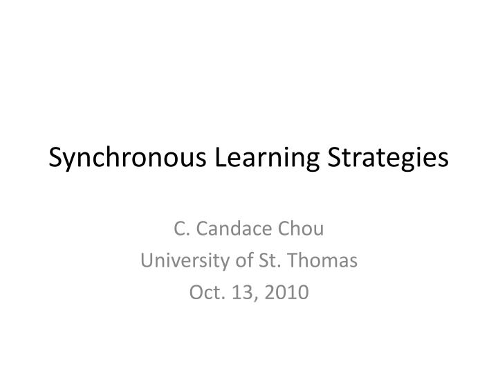 synchronous learning strategies n.