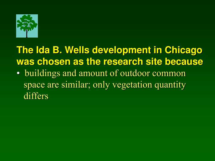 The Ida B. Wells development in Chicago was chosen as the research site because