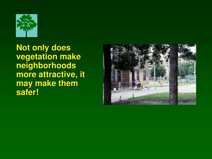 Not only does vegetation make neighborhoods more attractive, it may make them safer!