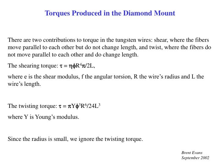 Torques Produced in the Diamond Mount