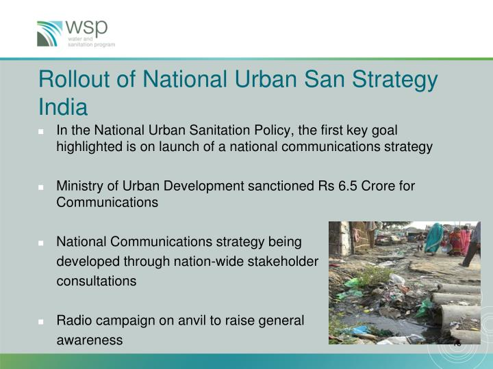 Rollout of National Urban San Strategy