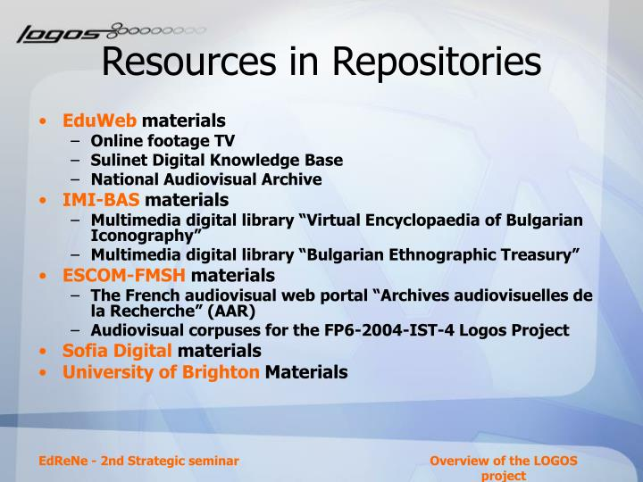 Resources in Repositories